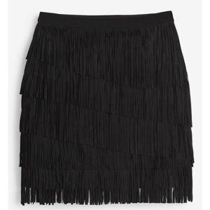 White House Black Market Fringed Miniskirt